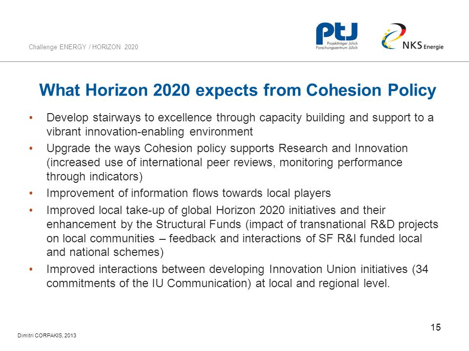 What Horizon 2020 expects from Cohesion Policy