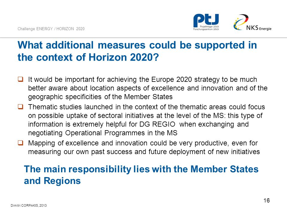 What additional measures could be supported in the context of Horizon 2020
