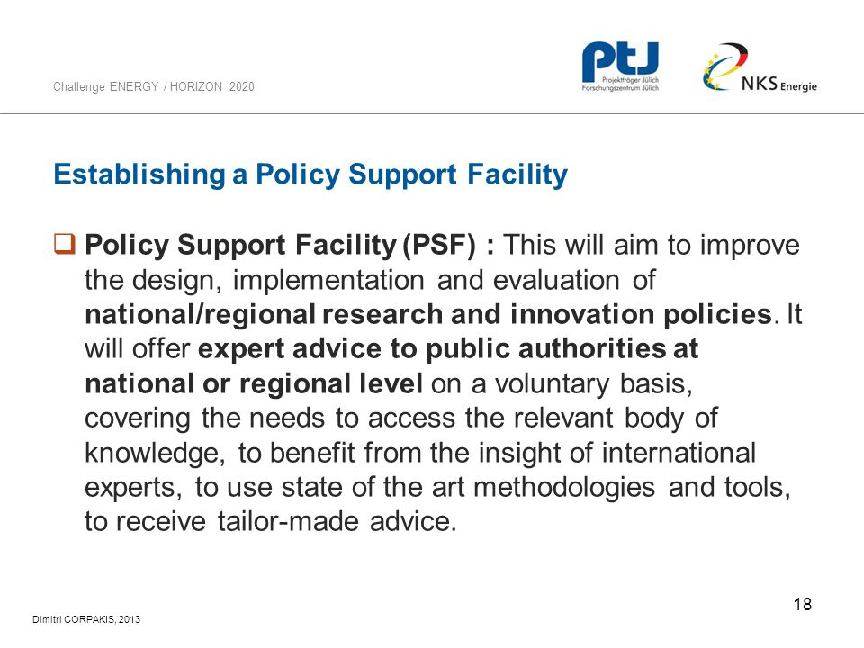 Establishing a Policy Support Facility