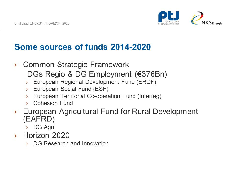 Some sources of funds 2014-2020 Common Strategic Framework