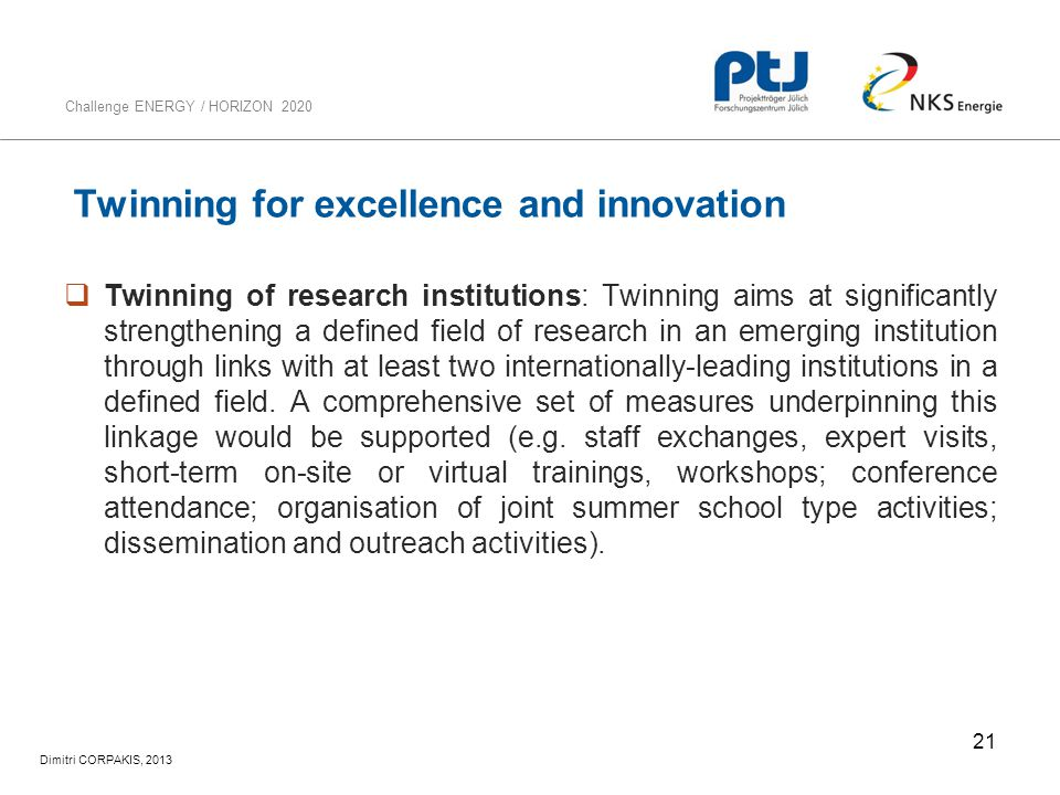 Twinning for excellence and innovation