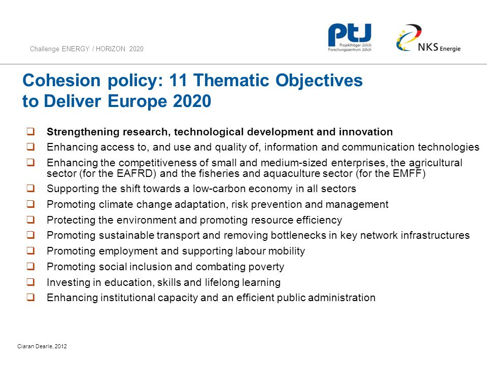 Cohesion policy: 11 Thematic Objectives to Deliver Europe 2020