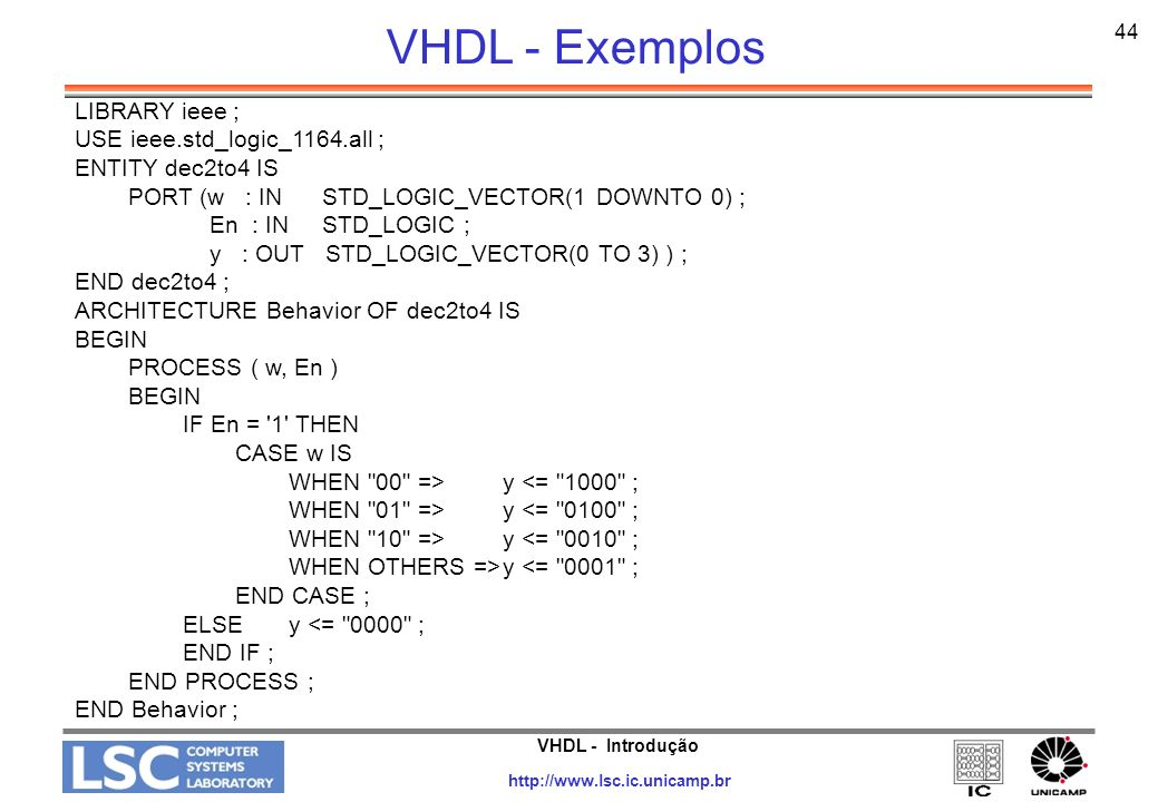 VHDL - Exemplos LIBRARY ieee ; USE ieee.std_logic_1164.all ;