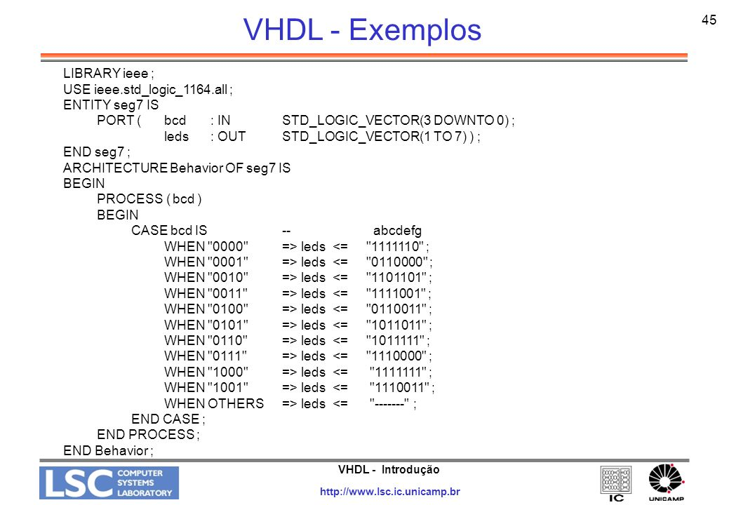 VHDL - Exemplos 45 LIBRARY ieee ; USE ieee.std_logic_1164.all ;