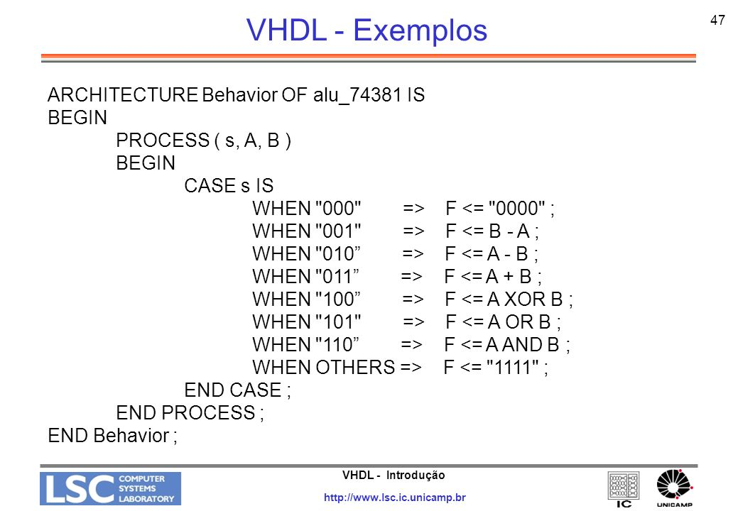 VHDL - Exemplos ARCHITECTURE Behavior OF alu_74381 IS BEGIN