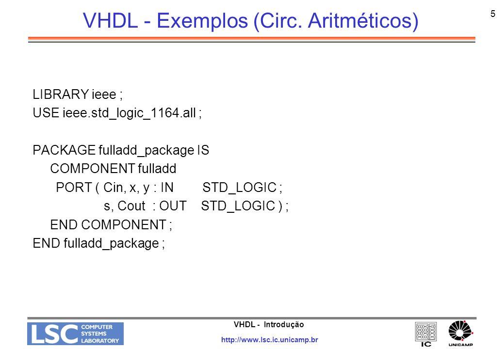 VHDL - Exemplos (Circ. Aritméticos)