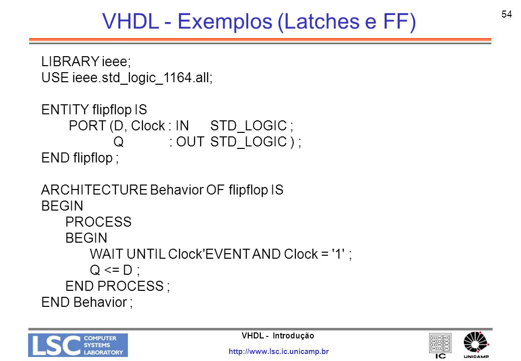 VHDL - Exemplos (Latches e FF)