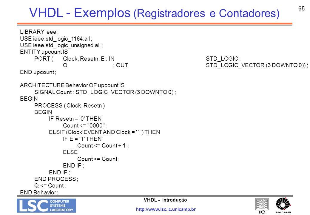 VHDL - Exemplos (Registradores e Contadores)