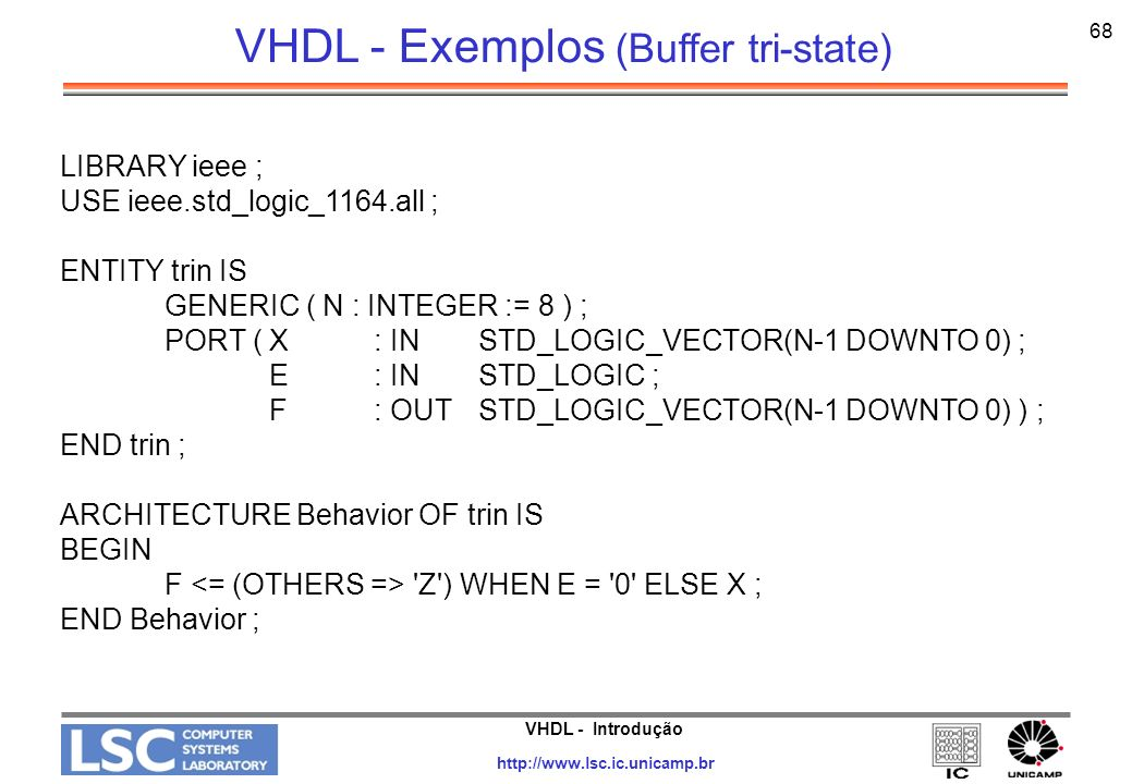 VHDL - Exemplos (Buffer tri-state)
