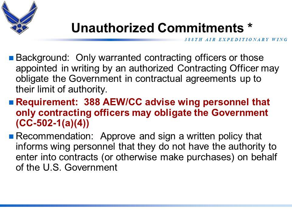 Unauthorized Commitments *