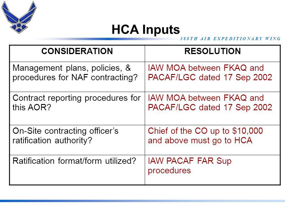 HCA Inputs CONSIDERATION RESOLUTION