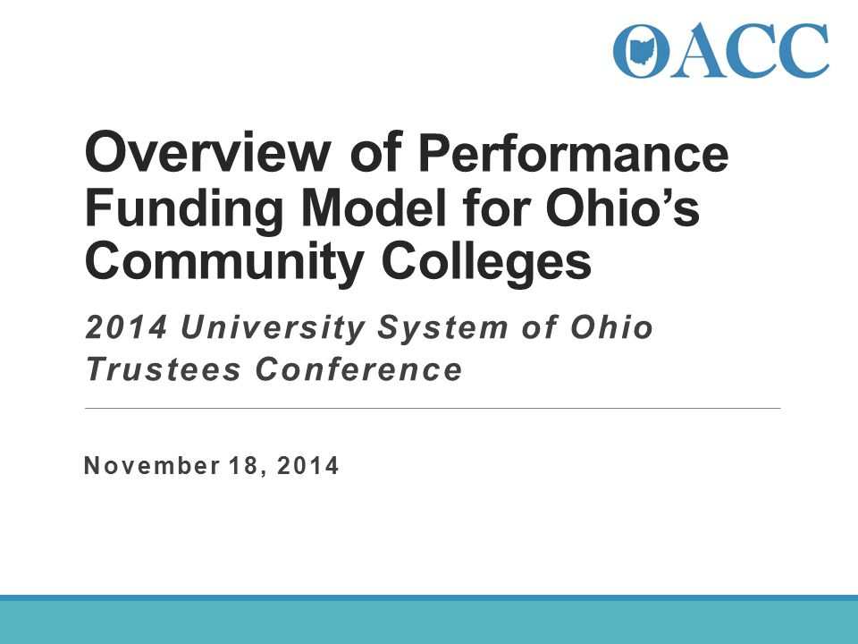 Overview of Performance Funding Model for Ohio's Community Colleges