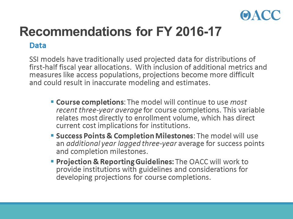 Recommendations for FY 2016-17