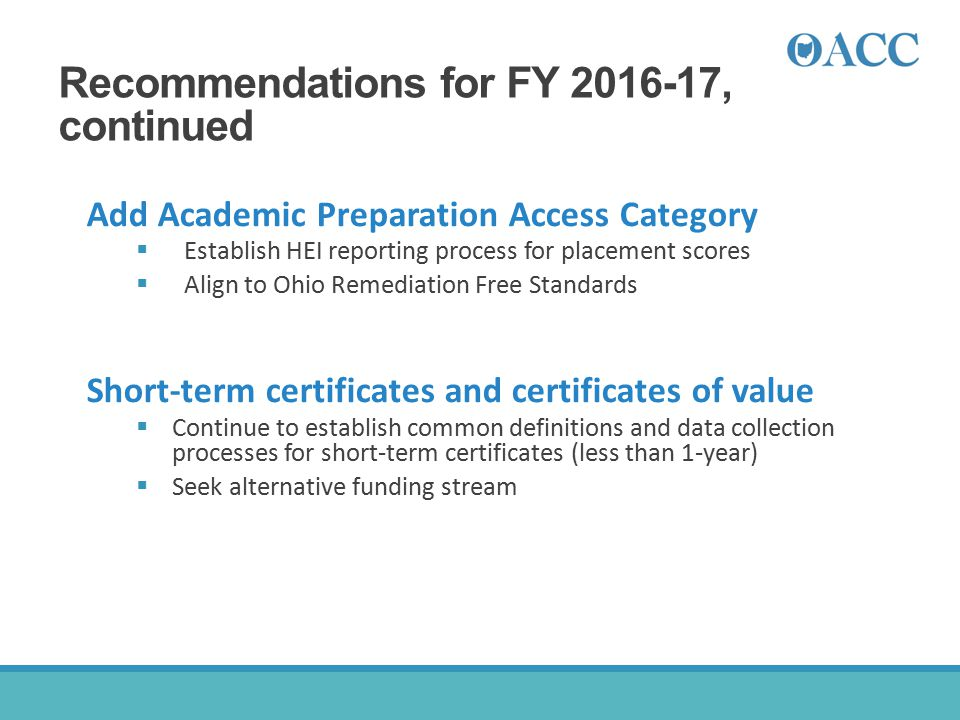 Recommendations for FY 2016-17, continued