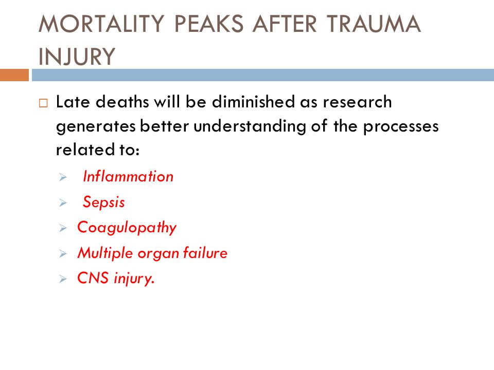 MORTALITY PEAKS AFTER TRAUMA INJURY