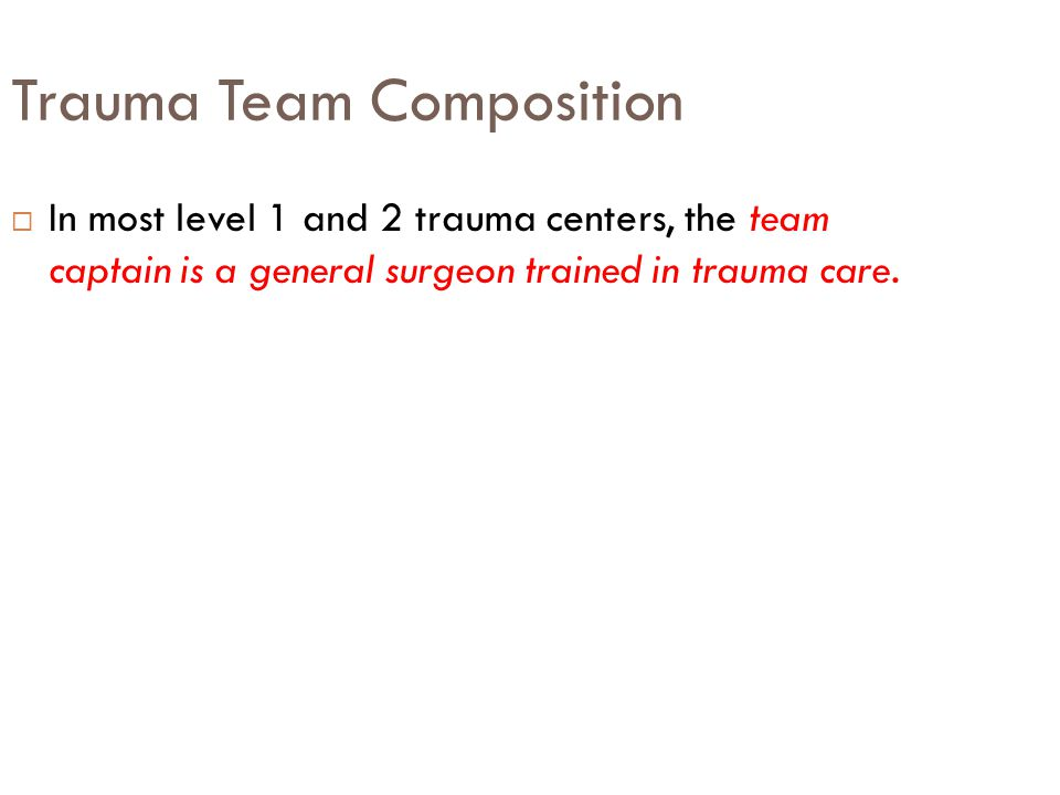 Trauma Team Composition