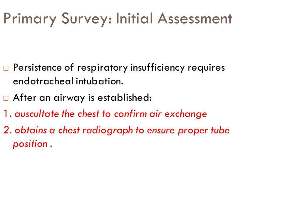 Primary Survey: Initial Assessment