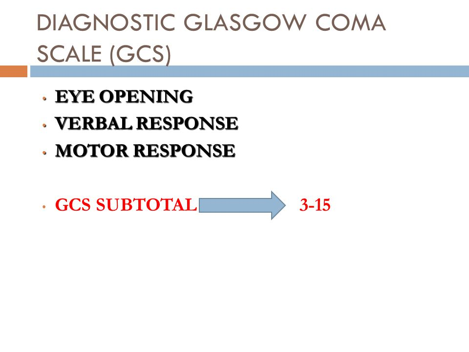 DIAGNOSTIC GLASGOW COMA SCALE (GCS)