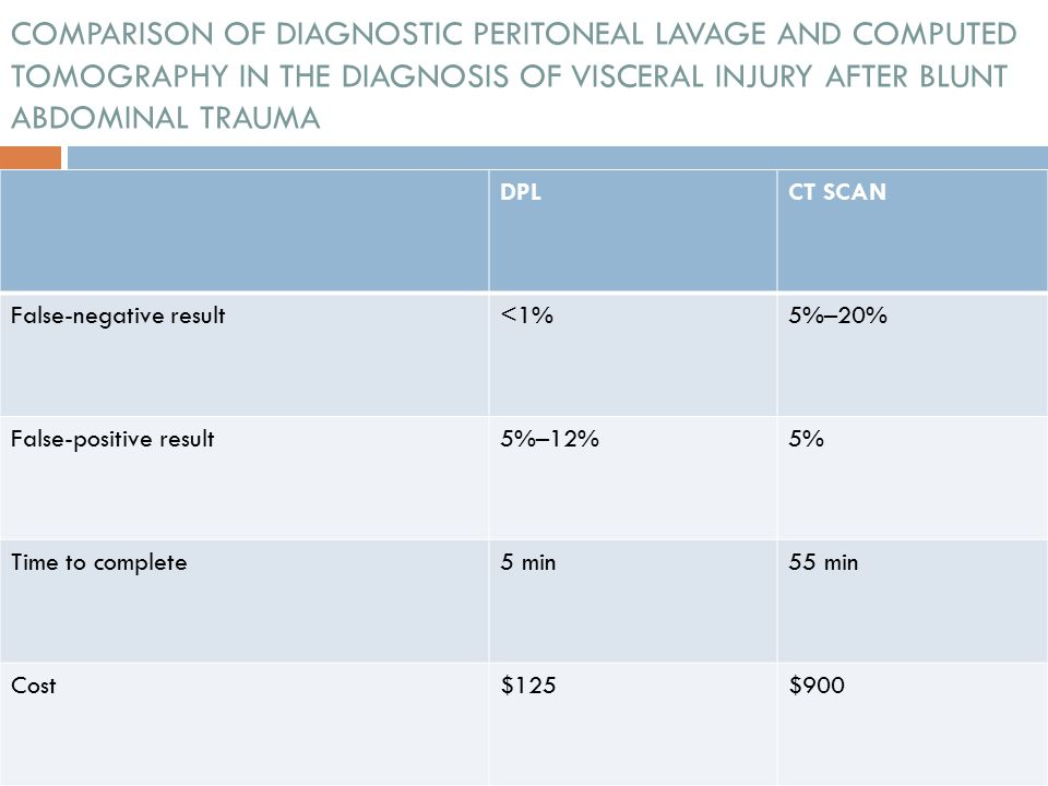 COMPARISON OF DIAGNOSTIC PERITONEAL LAVAGE AND COMPUTED TOMOGRAPHY IN THE DIAGNOSIS OF VISCERAL INJURY AFTER BLUNT ABDOMINAL TRAUMA