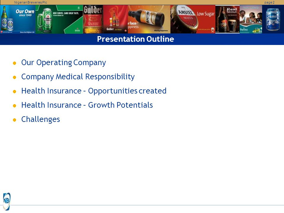 Presentation Outline Our Operating Company. Company Medical Responsibility. Health Insurance – Opportunities created.