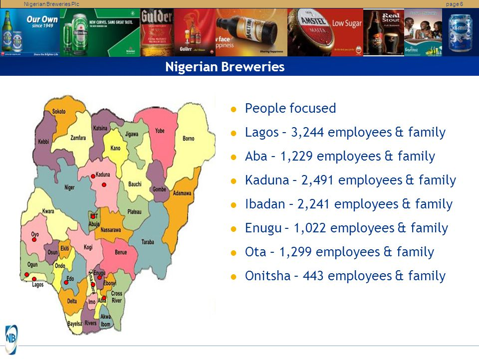 Nigerian Breweries People focused. Lagos – 3,244 employees & family. Aba – 1,229 employees & family.
