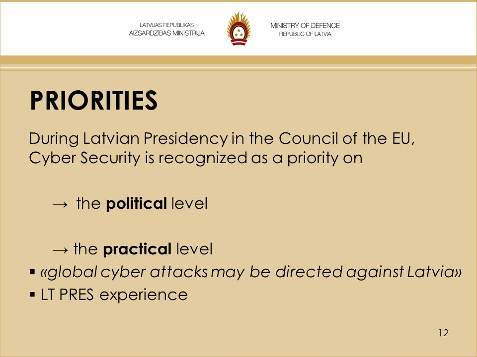 PRIORITIES During Latvian Presidency in the Council of the EU, Cyber Security is recognized as a priority on.