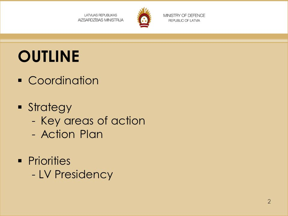 OUTLINE Coordination Strategy Key areas of action Action Plan