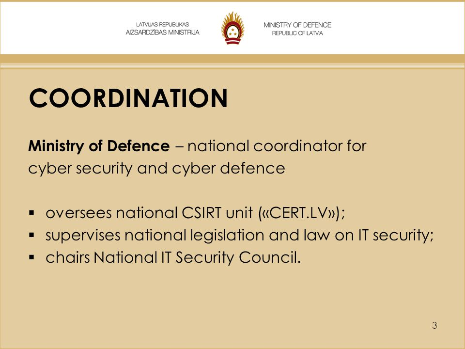 COORDINATION Ministry of Defence – national coordinator for
