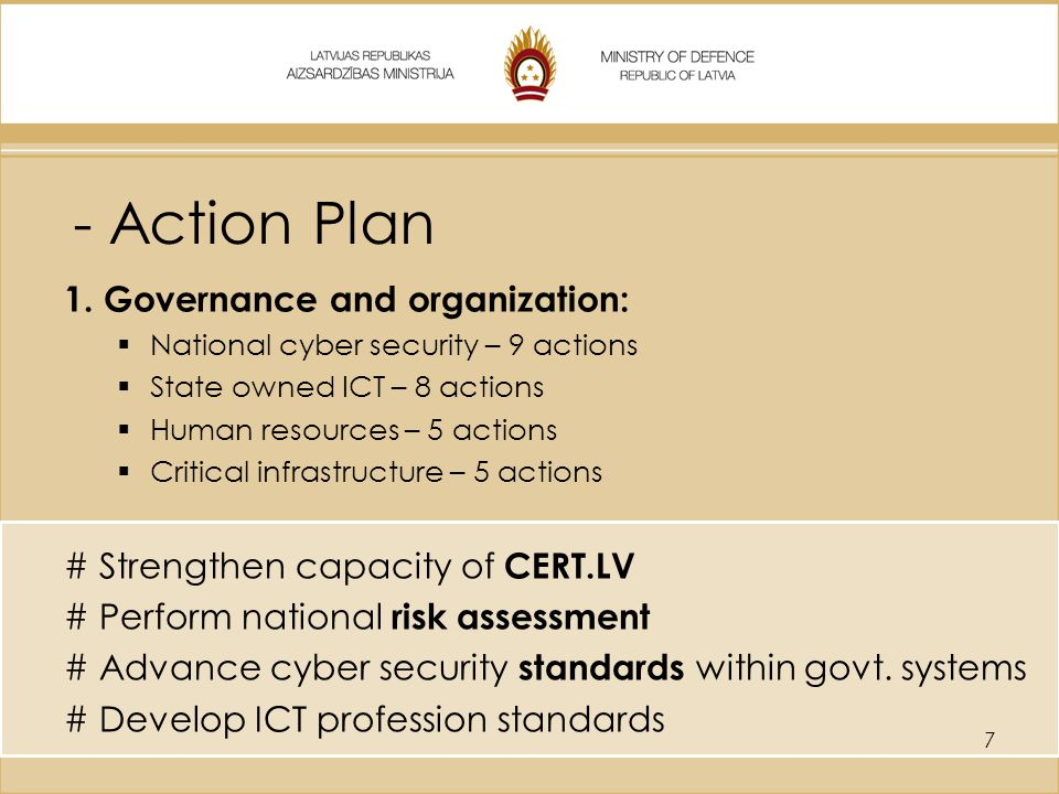 - Action Plan Governance and organization: