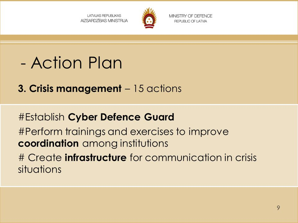 - Action Plan 3. Crisis management – 15 actions