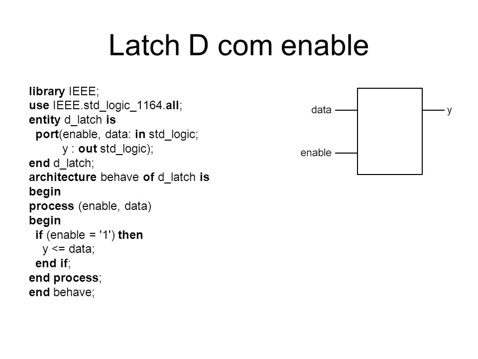 Latch D com enable library IEEE; use IEEE.std_logic_1164.all;