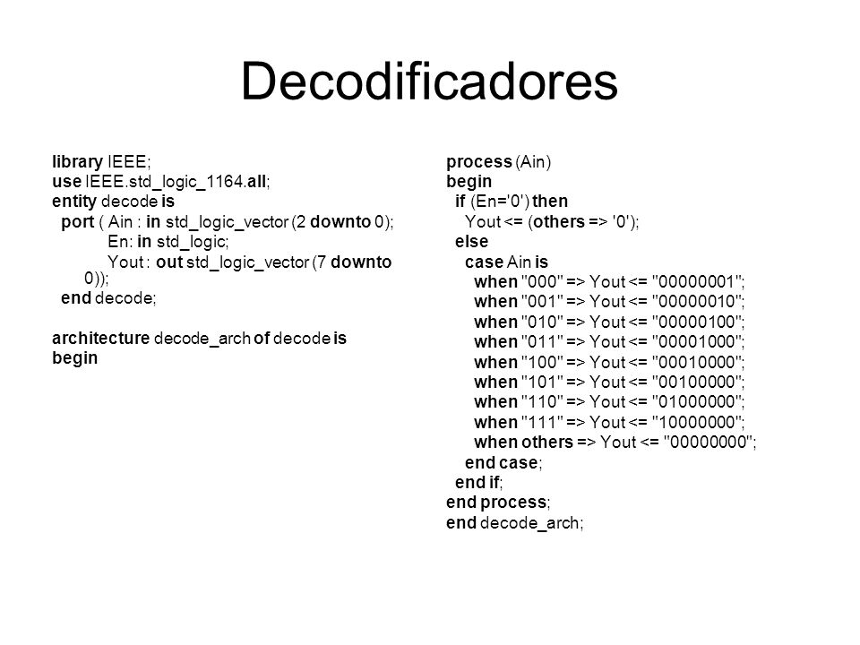 Decodificadores library IEEE; use IEEE.std_logic_1164.all;