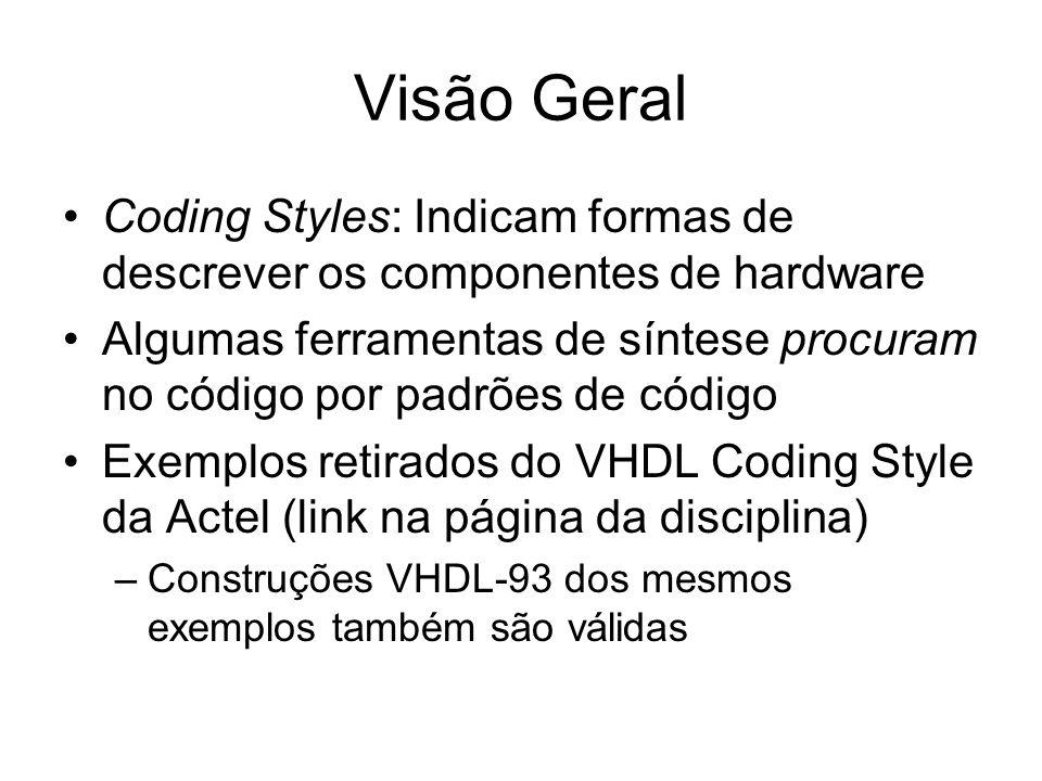 Visão Geral Coding Styles: Indicam formas de descrever os componentes de hardware.