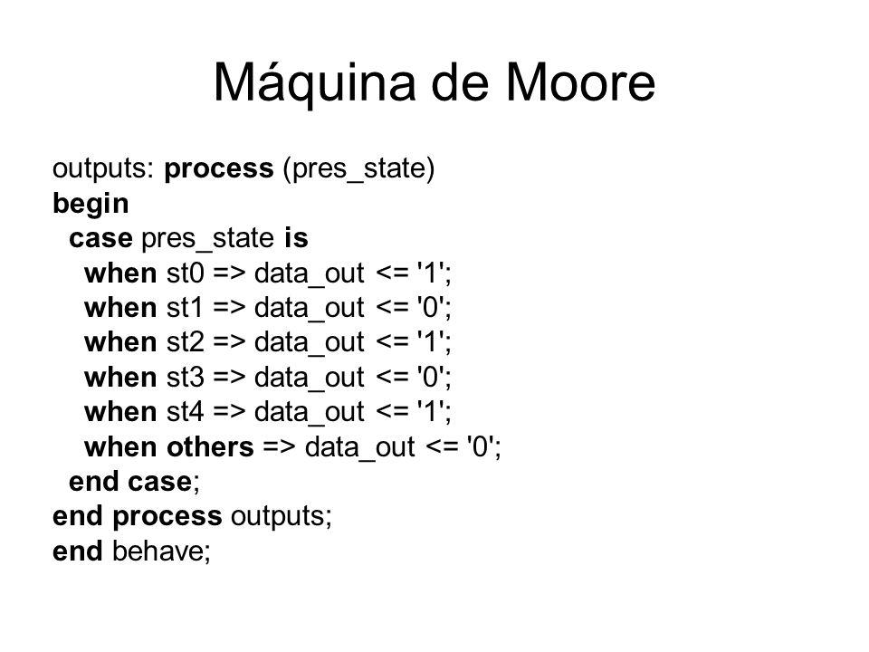 Máquina de Moore outputs: process (pres_state) begin
