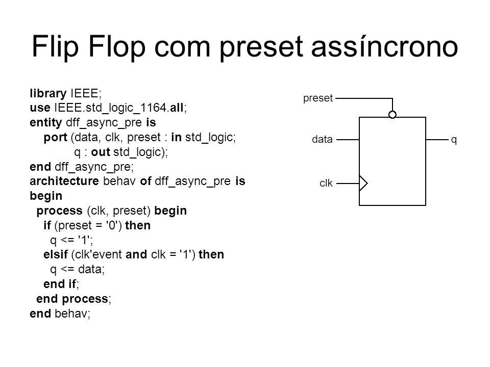 Flip Flop com preset assíncrono