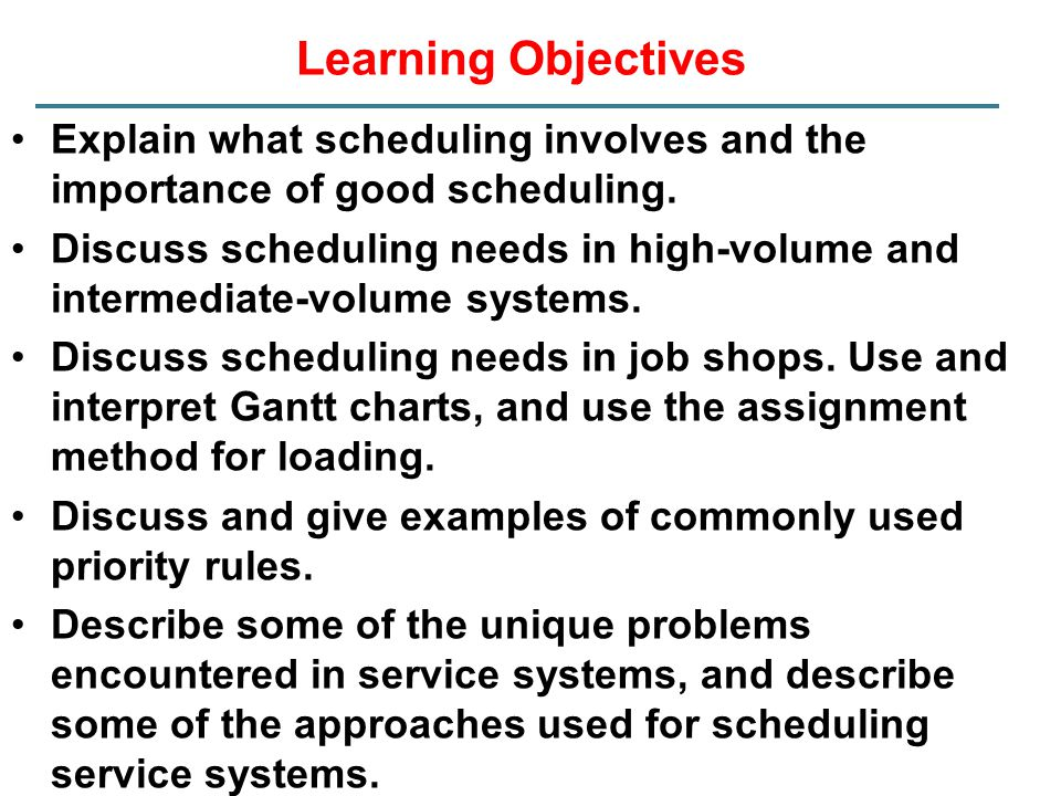 Learning Objectives Explain what scheduling involves and the importance of good scheduling.