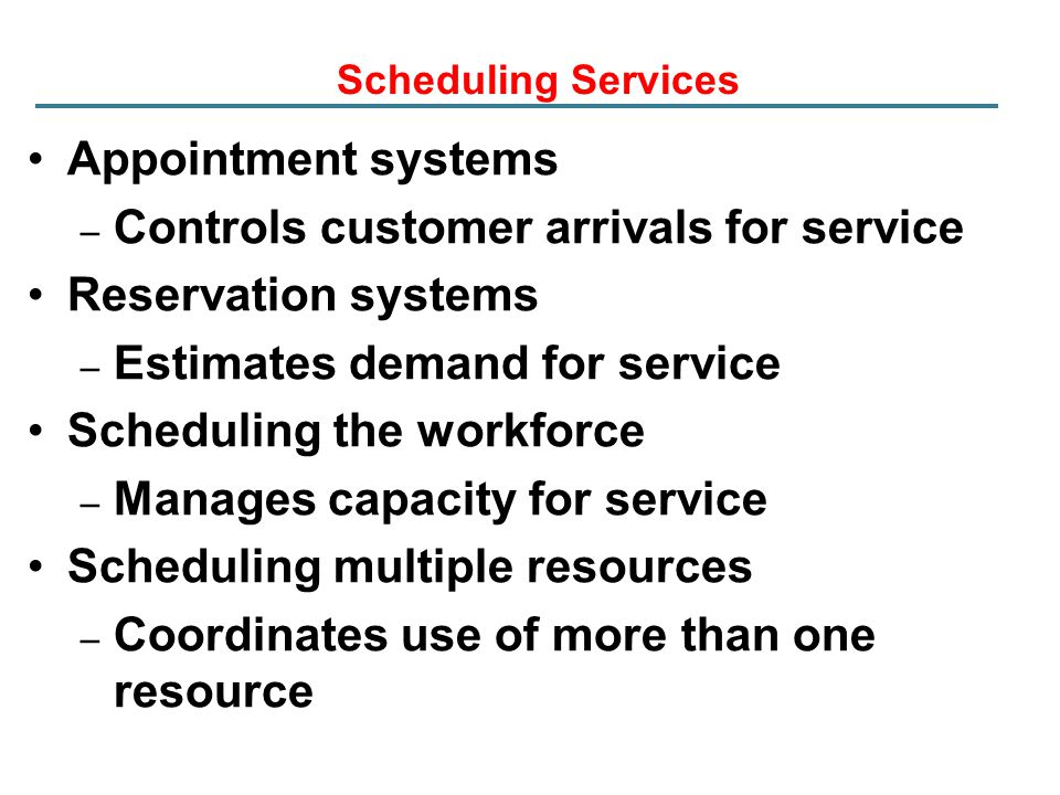 Controls customer arrivals for service Reservation systems