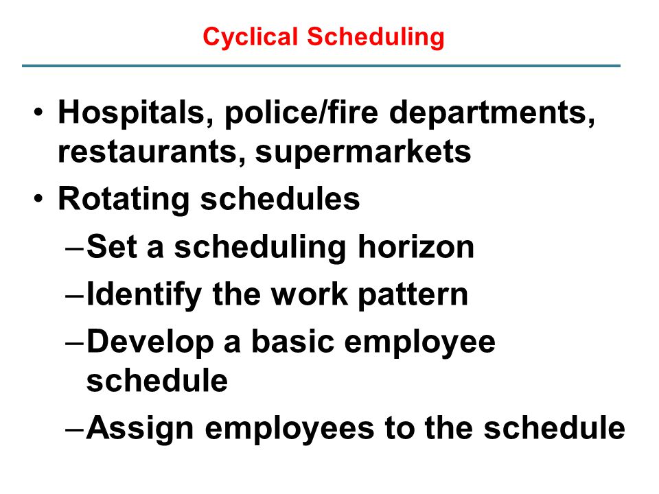 Hospitals, police/fire departments, restaurants, supermarkets