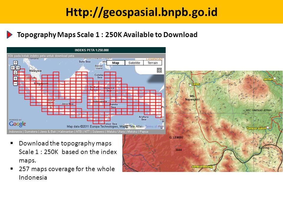 Topography Maps Scale 1 : 250K Available to Download.