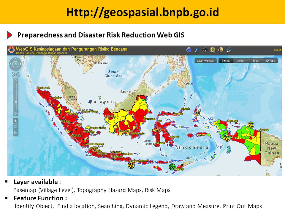 Preparedness and Disaster Risk Reduction Web GIS. Layer available :