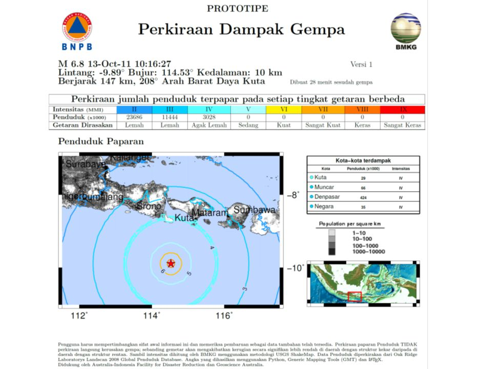 And here is the final result – a rapid estimate of the impact of last week's earthquake off Bali. This was created within an hour of the earthquake and available from BNPB's website. It provides us with an estimate of how many people are in different intensities of ground shaking and this in turn informs us of the likely scale and severity of the earthquake. You can see from this earthquake that there are not expected to be people in shaking of intensity 5 or greater and hence we do not expect a lot of fatalities or severe damage.