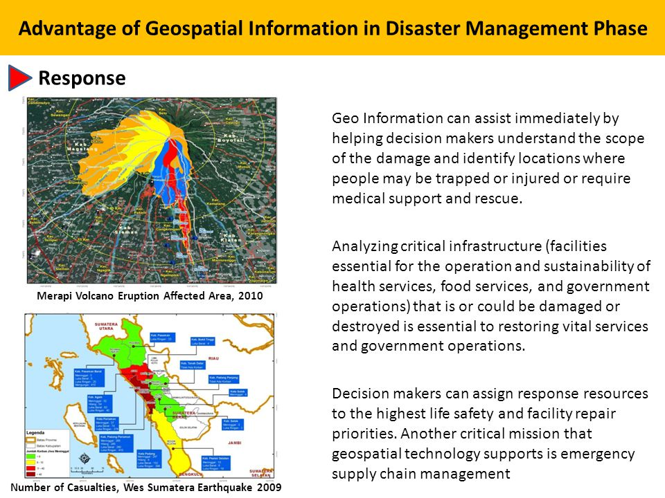 Advantage of Geospatial Information in Disaster Management Phase
