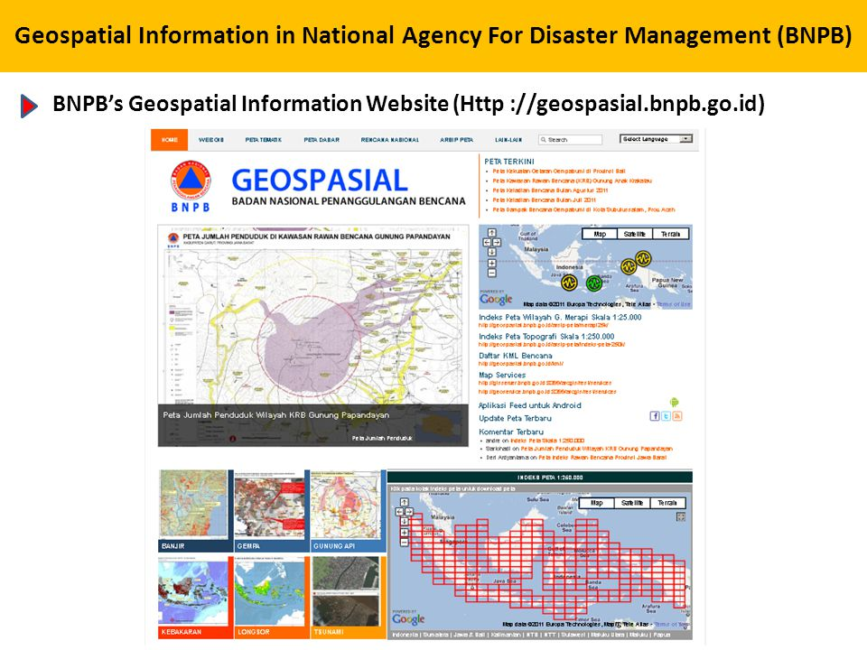 Geospatial Information in National Agency For Disaster Management (BNPB)
