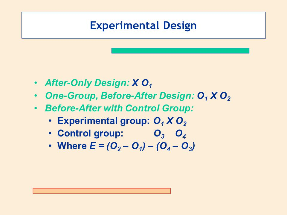 Experimental Design After-Only Design: X O1