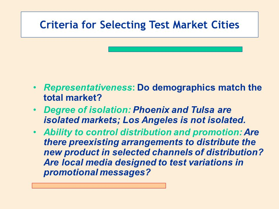 Criteria for Selecting Test Market Cities