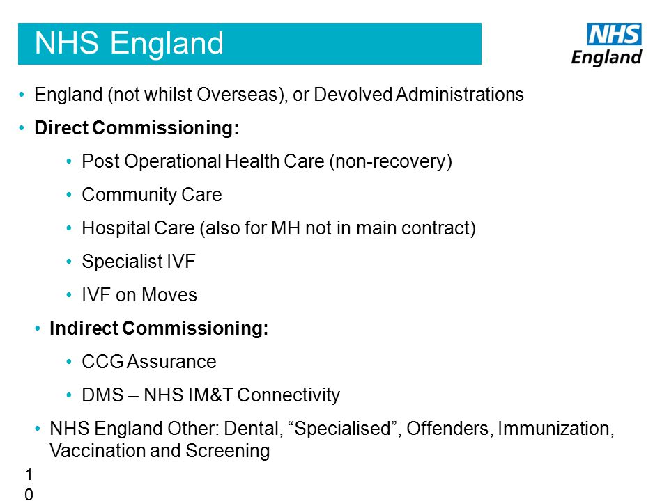 NHS England England (not whilst Overseas), or Devolved Administrations