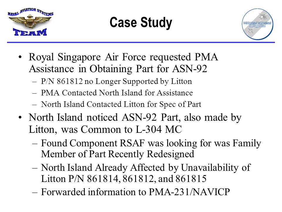Case Study Royal Singapore Air Force requested PMA Assistance in Obtaining Part for ASN-92. P/N 861812 no Longer Supported by Litton.