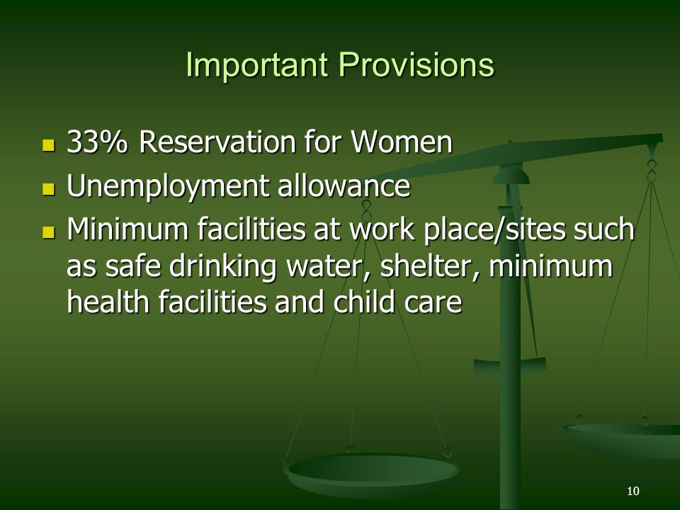 Important Provisions 33% Reservation for Women Unemployment allowance