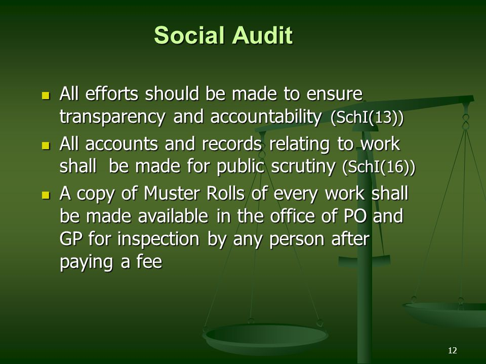 Social Audit All efforts should be made to ensure transparency and accountability (SchI(13))