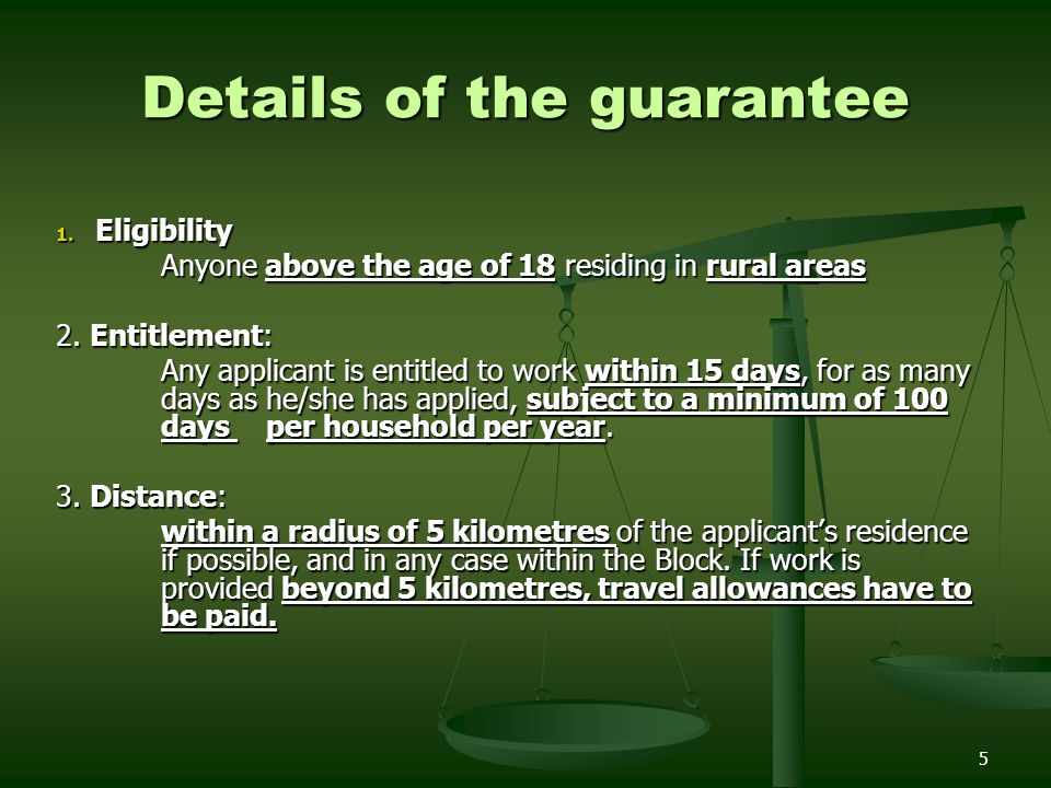 Details of the guarantee